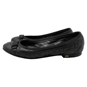 Dior My Dior Cannage Black Quilted Leather Flats